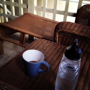Coffee and water, my morning writing time fuel
