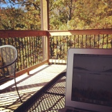 My writing spot, ladybugs not pictured.