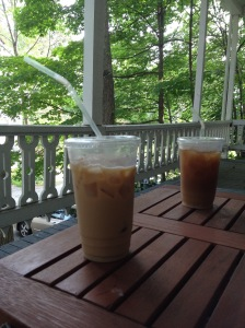 Iced coffee and porch reading makes for the perfect morning.